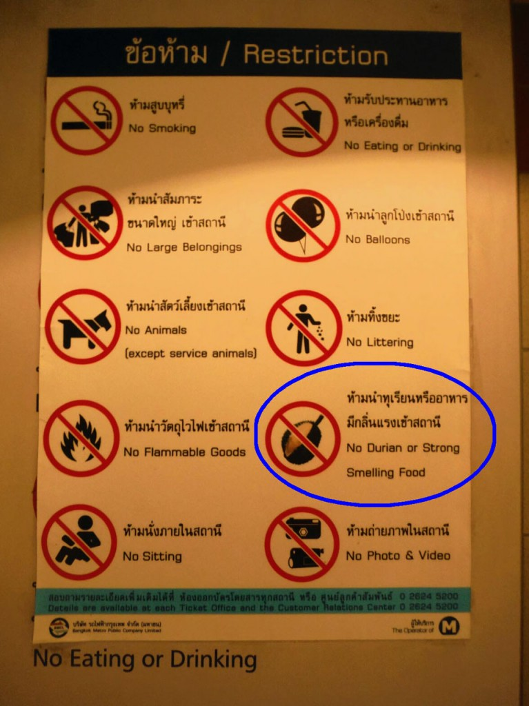 Zakaz wnoszenia durianów do metra